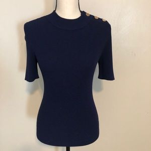NWOT Tory Burch Navy Short Sleeved Ribbed Sweater